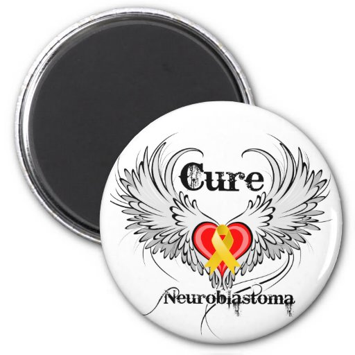 Cure Neuroblastoma Heart Tattoo Wings 2 Inch Round Magnet