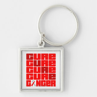 CURE Oral Cancer Collage Silver-Colored Square Keychain