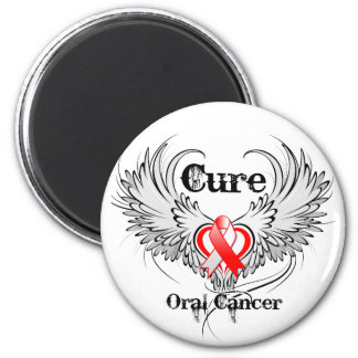 Cure Oral Cancer Heart Tattoo Wings Fridge Magnets