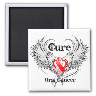 Cure Oral Cancer Heart Tattoo Wings Magnets