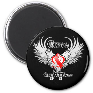 Cure Oral Cancer Heart Tattoo Wings Fridge Magnet