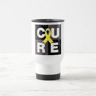 CURE Osteosarcoma Cube 15 Oz Stainless Steel Travel Mug