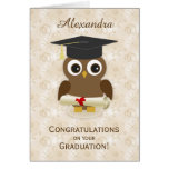Cure owl, mortar, diploma Graduation Note Card