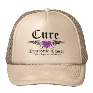 Cure Pancreatic CancerTattoo Wings Trucker Hat