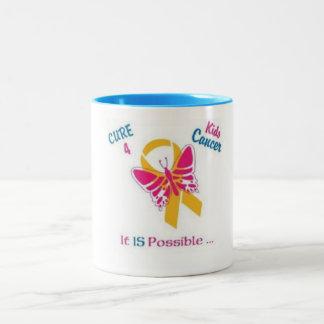 Cure para el cáncer de los niños, oro del desgaste taza de café de dos colores
