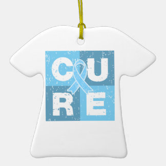 CURE Prostate Cancer Distressed Cube Double-Sided T-Shirt Ceramic Christmas Ornament
