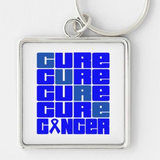 CURE Rectal Cancer Collage Silver-Colored Square Keychain