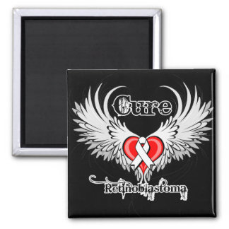 Cure Retinoblastoma Heart Tattoo Wings 2 Inch Square Magnet