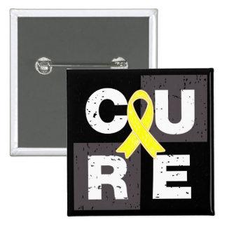 CURE Sarcoma Distressed Cube 2 Inch Square Button