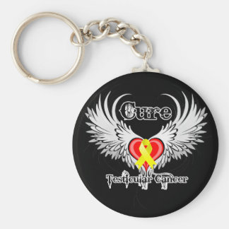 Cure Testicular Cancer Heart Tattoo Wings Basic Round Button Keychain