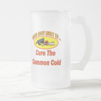 Cure The Common Cold Frosted Glass Beer Mug