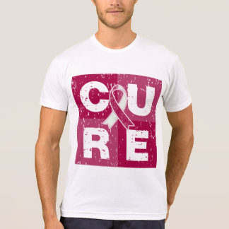 CURE Throat Cancer Distressed Cube Shirts