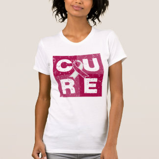 CURE Throat Cancer Distressed Cube T Shirts