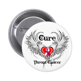 Cure Throat Cancer Heart Tattoo Wings Pinback Button