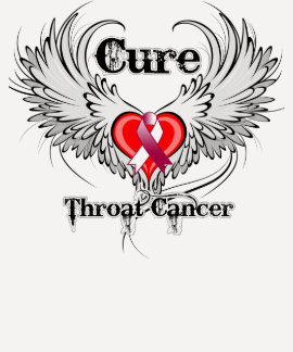 Cure Throat Cancer Heart Tattoo Wings Tee Shirts