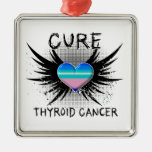 Cure Thyroid Cancer Square Metal Christmas Ornament