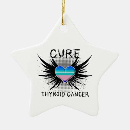 Cure Thyroid Cancer Double-Sided Star Ceramic Christmas Ornament