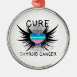 Cure Thyroid Cancer Round Metal Christmas Ornament