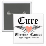 Cure Uterine Cancer Tattoo Wings Pinback Buttons