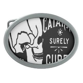 Cured Skull Vintage Label Belt Buckle