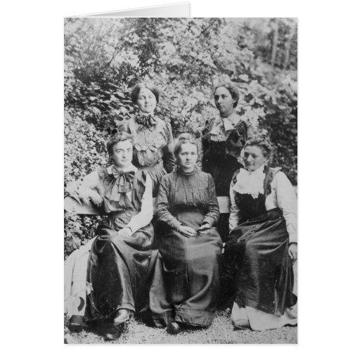 Curie de Marie Sklodowska con sus cuatro estudiant Felicitaciones