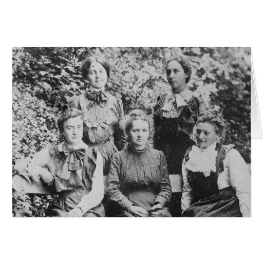 Curie de Marie Sklodowska con sus cuatro estudiant Tarjeta