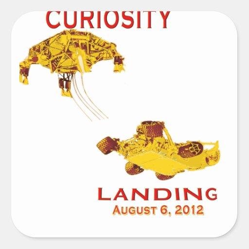 Curiosidad aterrizaje 6 de agosto, 3012 pegatina cuadrada