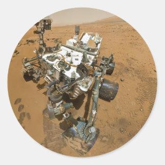 Curiosidad de Marte Rover en Rocknest Etiqueta Redonda