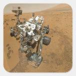 Curiosidad de Marte Rover en Rocknest Pegatina Cuadrada