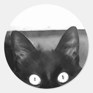 Curiosidad del gato etiquetas redondas