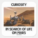Curiosidad en busca de la vida en Marte Martian Pegatinas Cuadradas