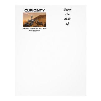Curiosidad que busca para la vida en Marte (Marte Membrete Personalizado