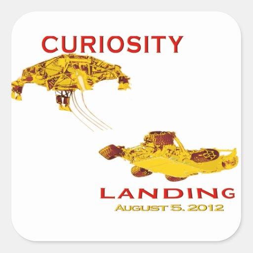 Curiosidad Rover que aterriza el logotipo del Pegatina Cuadradas Personalizadas