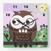 Curiosity and The Wise Old Owl Square Wall Clock