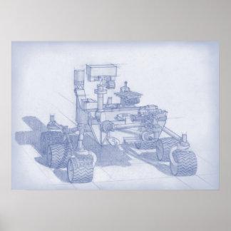 Curiosity Blueprint Print
