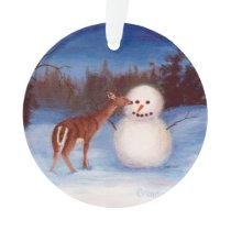 Curiosity Deer and Snowman Ornament