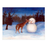 Curiosity Deer and Snowman Postcard