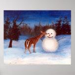 Curiosity Deer and Snowman Poster