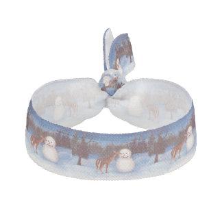 Curiosity Deer and Snowman Ribbon Hair Tie