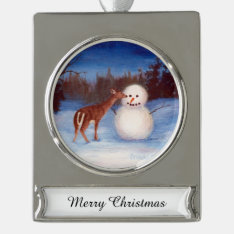 Curiosity Deer And Snowman Silver Plated Banner Ornament at Zazzle