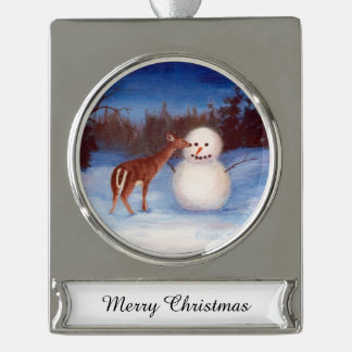 Curiosity Deer and Snowman Silver Plated Banner Ornament