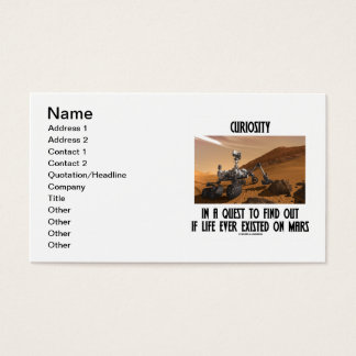 Curiosity In A Quest To Find If Life Existed Mars Business Card