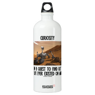 Curiosity In A Quest To Find Out Life On Mars Aluminum Water Bottle