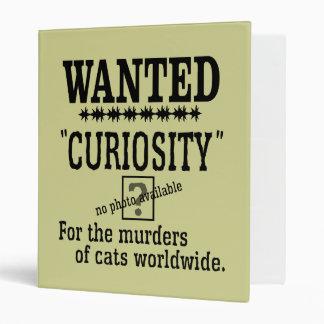 Curiosity Killed the Cat - Beige background color Vinyl Binder