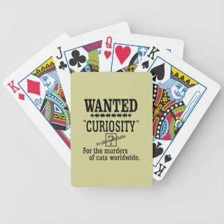 Curiosity Killed the Cat - Beige background color Bicycle Playing Cards