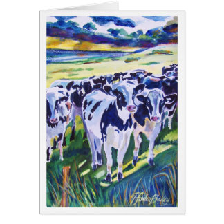 """""""Curiosity"""" original Watercolor of Dairy Cows Card"""