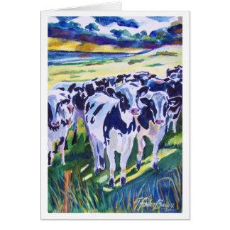 """Curiosity"" original Watercolor of Dairy Cows Greeting Cards"