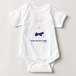 Curiosity White Rabbit Alice in Wonderland Baby Baby Bodysuit