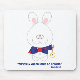 Curiosity White Rabbit Alice in Wonderland Mouse Pad