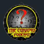 """Curioso dartboard<br><div class=""""desc"""">Throw darts at your favorite podcast logo.</div>"""